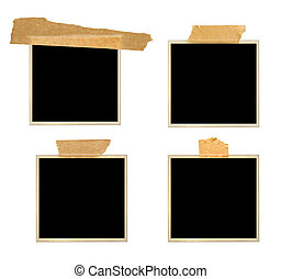 Set of retro photo frames with adhesive tape
