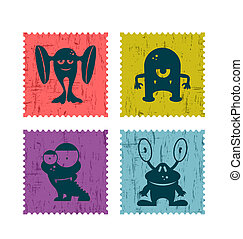 Set of retro postage stamp with funny monsters. Cartoon illustration