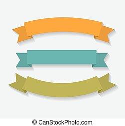 Set of Retro Ribbon Vector Illustration