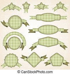 Set of retro ribbons and labels. Christmas pattern