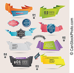 Set of Retro  ribbons and labels ,Origami banners,vector illustration