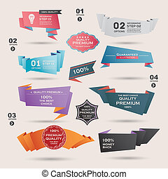 Set of Retro ribbons and labels ,Origami banners,vector...