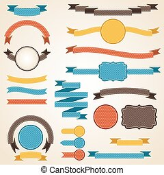 Set of retro ribbons and labels. Vector illustration