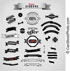 Set of retro ribbons and labels. Vector illustration can be used