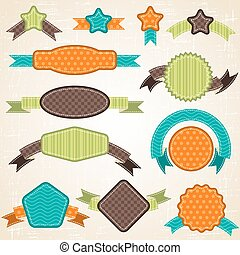 Set of retro ribbons and labels. Vector illustration.