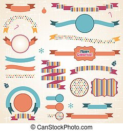Set of retro ribbons and labels with Christmas decorations