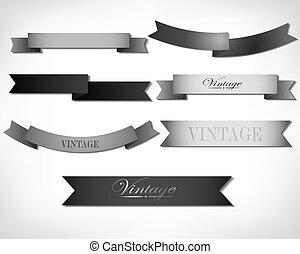 Set of retro ribbons