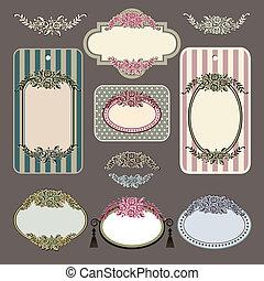 Set of retro roses vintage labels