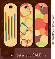 Set of retro sale tags