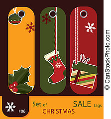 Set of retro sale xmas tags