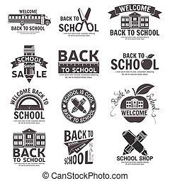 Set of retro school vintage badges and labels.