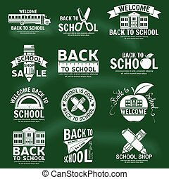 Set of retro school vintage badges and labels.