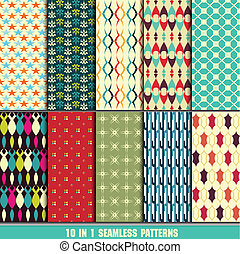 set of retro seamless pattern