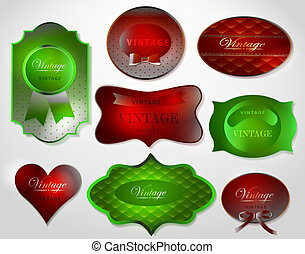 Set of retro shiny Christmas Greeting Card/Merry Christmas labels and stickers with bow. Design template