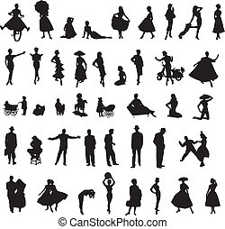 set of retro silhouettes of people