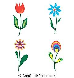 Set of retro spring colorful flower