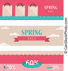 Set of retro spring horizontal banners