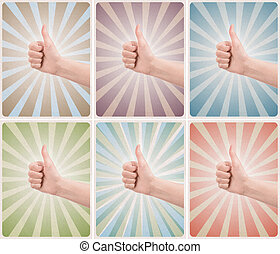 Set of retro style poster with thumb up gesture