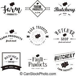 Set of retro styled butchery logo templates. Emblem of ...