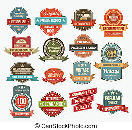 Set of retro vector label stickers and ribbons.