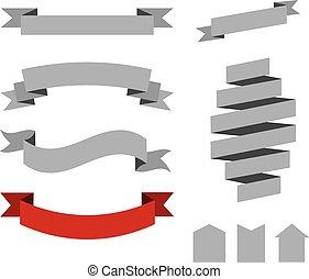 set of retro vector ribbons