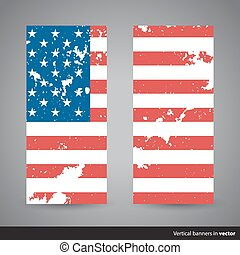 Set of retro vertical Independence Day banners