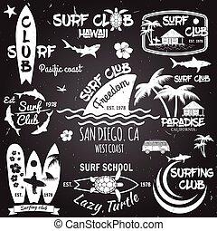 Vintage Surfing Graphics and emblems for web design or print. Vector illustration.