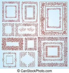 set of retro vintage frame doodle