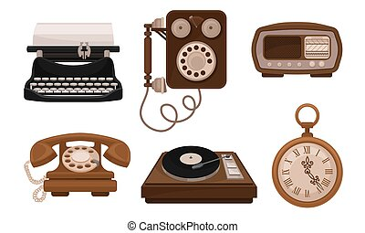 Set Of Retro Vintage Household Appliances And Mechanismes Vector Illusration