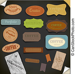 Set of retro vintage labels. Vector illustration.