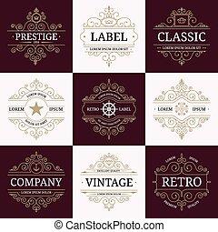 Set of retro vintage luxury logotypes