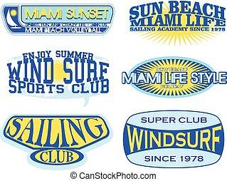 Set of retro vintage nautical labels and badges logo...