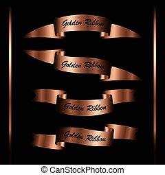 Set of retro vintage premium golden ribbons for your design