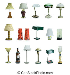 set of retro, vintage table lamps isolated on white background