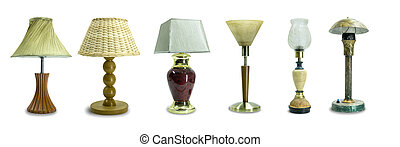 set of retro, vintage table lamps isolated on white