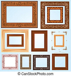 set of retro vintage wooden frames