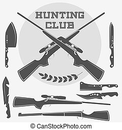 Set of retro weapons labels, emblems and design elements. Vector