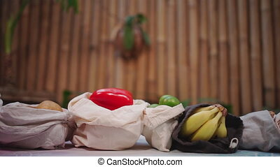 set of reusable and zero waste cotton shopping bags for food...