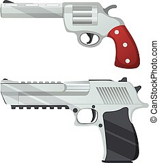 Set of revolver and desert eagle pistol icon, self defense weapon, concept cartoon vector illustration, isolated on white. Shooting powerful firearms handgun.