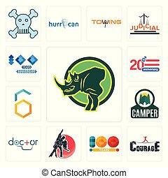 Set of rhino, courage, 100 year, dance studio, doctor, camper, hex, 20 anniversary, year anniversary icons