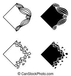 Set of rhombus abstract logo elements.