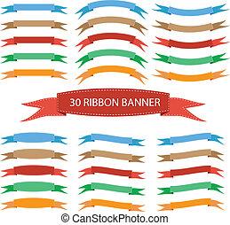 Set of ribbon banner flat color vector illustration