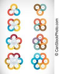 Set of ribbon diagrams