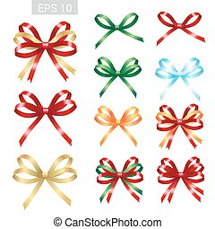 Set of ribbon tied bows in vector format for gift card, greeting card or thank you card and other decoration