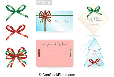 Set of ribbon tied bows in vector format for gift card, greeting card or thank you card