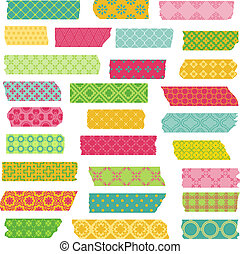 Set of Ribbons and Stickers - for design and scrapbook - in vector
