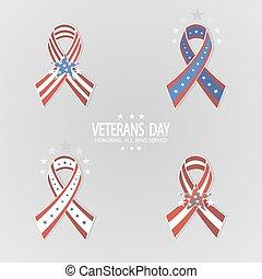 Set of ribbons for Veterans Day.