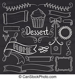 Set of ribbons, frames for bakery menu.