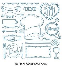 Set of ribbons, frames for restaurant menu.