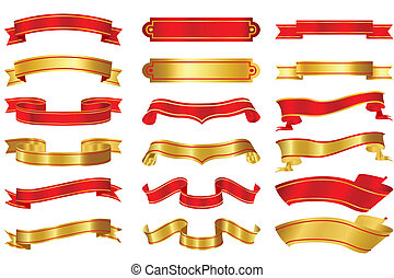 Set of Ribbons - illustration of set of different shape...